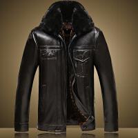 冬装中年皮夹克男士加绒棉衣中老年商务休闲PU皮外套爸爸加厚皮衣