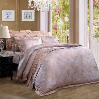 富安娜家纺 富安娜涤粘大提花四件套 床上用品欧美床品床单套件  七号公园-米白 1.8m(6英尺)床
