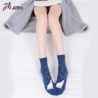 顶瓜瓜棉袜女士可爱卡通印花中筒袜子 棉质透气棉袜秋冬新品6双装