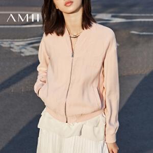 Amii2017春季新品休闲时尚帅气宽松显瘦长袖短款夹克外套女装