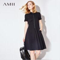 Amii[极简主义]2017夏新品运动休闲polo A字裙连衣裙11762603