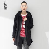 初语女式风衣冬中长款外套显瘦连帽加厚休闲大衣女8540621001