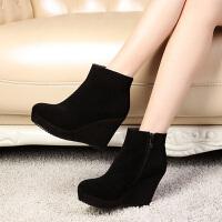 娜箐箐冬欧美时尚磨砂牛皮高跟坡跟防水台骑士靴短靴女靴子潮