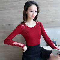 �莱2017春季新款套头韩版中长款圆领纯色修身长袖打底针织衫