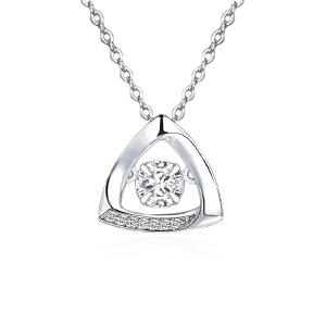 芭法娜 灵动系列 时尚s925银镶锆石菱形吊坠 会动会闪