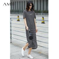 Amii[极简主义]2017夏装新品印花落肩短袖撞色条纹连衣裙11721786