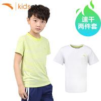 安踏男童正品短袖 两件套薄速干衣2017新款中大童t恤学生夏运动装