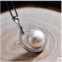 女士甜美可爱时尚百搭挂件气质潮流天然珍珠配925银水晶项链女吊坠