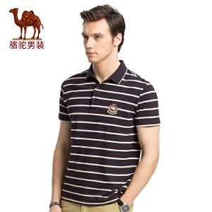 骆驼男装 2017年夏季新款男青年短袖翻领条纹POLO衫休闲商务T恤衫