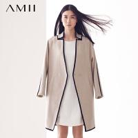 【AMII超级大牌日】[极简主义]2016冬新品优雅个性时尚包边口袋毛呢大衣女2色11480425