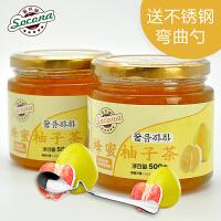 送弯曲勺 Socona蜂蜜柚子茶500gX2瓶 韩国风味水果茶蜜炼酱冲饮品