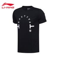 李宁男装短袖T恤2017新款男士BAD FIVE休闲圆领上衣夏季运动服AHSM551