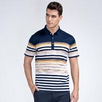才子男装(TRIES)POLO衫 男士2017年新款经典条纹拼色时尚简约休闲短袖T恤