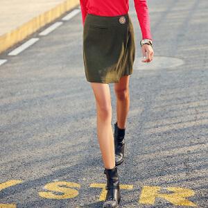 裂帛女装2017秋款新款中腰拉链刺绣短裙不对称摆毛呢半身裙女