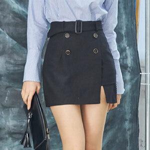 波柏龙 2017春装新款韩国代购西装裙显瘦高腰不规则包臀裙裤短裤