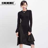 欧美黑色不规则连衣裙女可拆卸喇叭袖拼接雪纺长袖圆领A字裙长裙