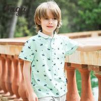 【满200-100】taga童装男童短袖POLO衫男孩短袖上衣中大童夏装体恤衫2017夏新款