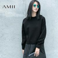 【AMII超级大牌日】[极简主义]2016女装冬装新品直筒长袖大码套头半高领毛衣