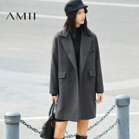 【AMII超级大牌日】[极简主义]2016秋冬女装新个性刺绣双排扣羊毛呢外套11673545