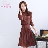 一米阳光2017春款韩版连衣裙格子裙时尚显瘦衬衫裙女