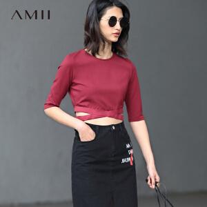 Amii[极简主义]2017春女新松紧腰带短款修身中袖大码T恤11790514