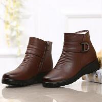 冬季羊毛加绒真皮中老年人短靴妈妈鞋女棉鞋大码鞋坡跟防滑中年女鞋