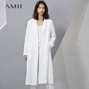 Amii[极简主义]2017春新宽松翻驳领侧开叉长款西装女11710421