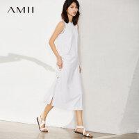 Amii[极简主义]2017夏女新品条纹圆领无袖排扣背心连衣裙11770590