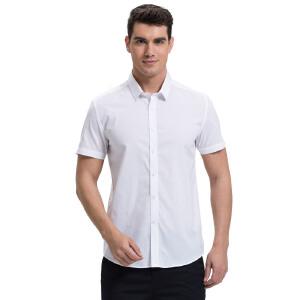 才子男装(TRIES)短袖衬衫 男士2017年新款棉质修身雅致简约纯色商务短袖衬衫