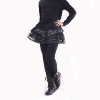 冬装黑色蕾丝加绒女童皮裤裙儿童大童装打底裙裤6-15岁