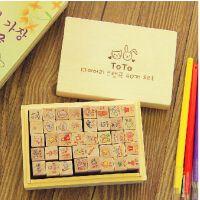 韩国文具 原木卡通toto可爱兔兔木盒装印章 木质日记小印章40枚