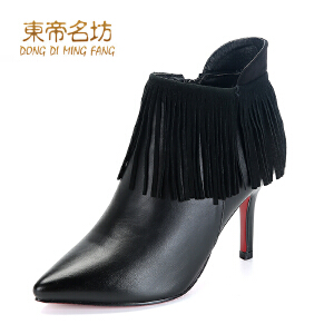 东帝名坊及裸靴单靴女高跟单靴细跟尖头短靴马丁靴女靴潮