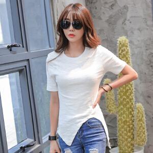 2017韩版修身女士上衣夏新纯色不规则短袖纯棉T恤BB17097