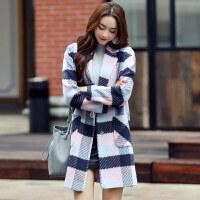 2016冬季中长款翻领韩范时尚修身简约格子呢大衣女