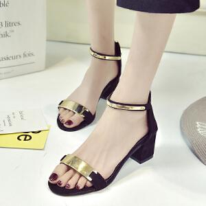 2017夏季新款女鞋露趾一字带粗跟高跟粗跟凉鞋罗马女士性感凉鞋女ZR-M232