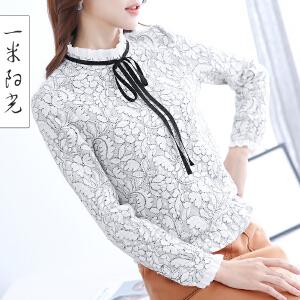 一米阳光 2017春装新款韩版蕾丝衫长袖打底衫系带修身短款上衣
