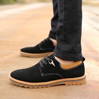 春季新款反绒皮男鞋男士休闲低帮皮鞋真皮系带英伦皮鞋复古商务鞋