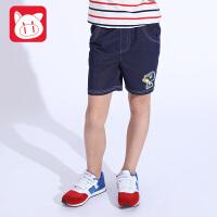 小猪班纳童装2017夏季新款儿童牛仔短裤男童中裤薄款中大童五分裤