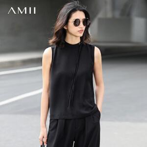 Amii[极简主义]2017春女纯色小高领绑带雪纺无袖大码背心11740416