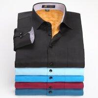 pauljones保罗琼诗   新款纯色保暖衬衫男士衬衫休闲商务衬衫