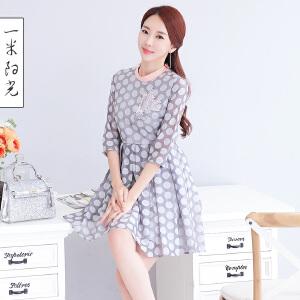 一米阳光2017春装韩版波点修身连衣裙七分袖A字裙气质短裙