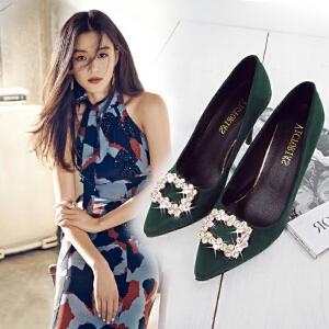 女鞋单鞋2017夏季新款时尚舒适大气高雅精美浅口高跟细跟单鞋女鞋ZR-955
