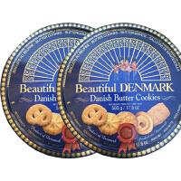 2盒装 德国DANISH BUTTER COOKIES蓝罐皇冠丹麦曲奇饼干500g/盒 铁盒装