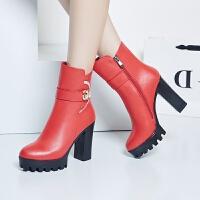 娜箐箐冬新款牛皮粗跟尖头防水台短靴女鞋真皮高跟骑士靴女靴