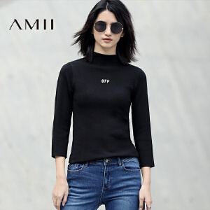 Amii[极简主义]2017春新品七分袖简洁修身高领字母印花针织T恤女
