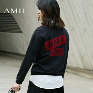 Amii[极简主义]2017春女字母印花大码棉宽松休闲套头卫衣11740092
