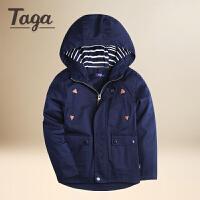 TAGA童装男童外套春秋装2017新款儿童梭织连帽休闲外衣