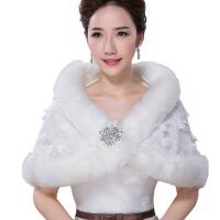 新款结婚新娘毛披肩婚纱礼服  外套斗篷加厚秋冬季