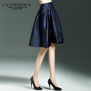 海青蓝新品女装时尚优雅气质短款休闲复古印花裙摆半身裙