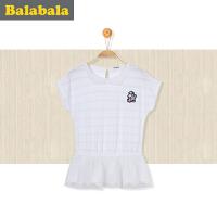 巴拉巴拉童装女童打底衫半袖2017夏新款休闲中大童儿童T恤短袖女
